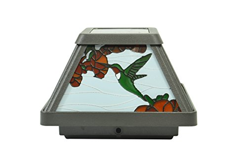 Moonrays 91187 Solar Powered White LED Hummingbird Stained Glass Postcap