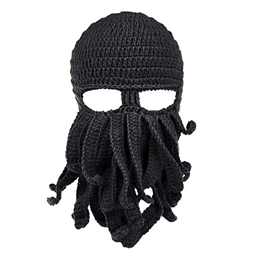 Maylisacc Ski Balaclava Face Mask Outdoor Warm Halloween Headwear Unisex Cthulhu Beanie Hat Black
