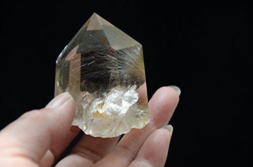 Keren Real Natural Tibet Himalayan High Altitude Clear Gold Rutilated Crystal Rutilation Quartz 6 Sided Rainbow 2.16 Inch Single Termination Wand Point Healing Reiki Spiritual