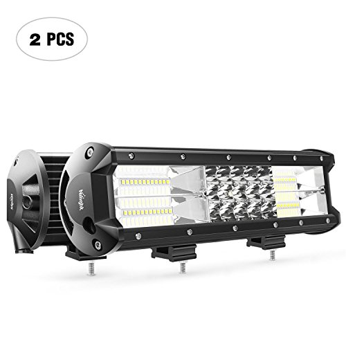 Nilight 2PCS 12Inch 180W Triple Row Flood Spot Combo LED Light Bar 18000LM Led Bar Driving Lights Boat Lights Led Off Road Lights for Trucks,2 Years Warranty