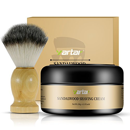 Yartar Sandalwood Shaving Cream Kit Soften Beard Clean Shave Foamy & Smooth Natural Ingredients with Pig Hair Shaving Brush Gives Smooth Close Shave by Yartar (Cream)