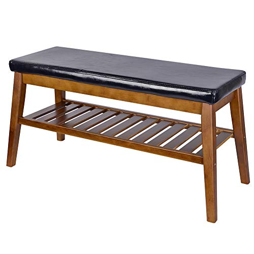 NNEWVANTE Shoe Bench Organizing Rack Free Standing Faux Leather Shoe Storage Racks Bamboo Seat for Closet Bedroom Kitchen Entry- 33in