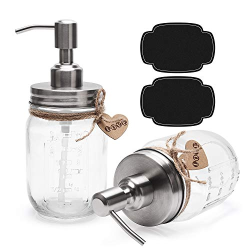 ULG 2 Pack 16 oz Glass Soap Dispenser with Stainless Steel Pump Pint Size Clear Mason Jars Soap Pump Bottle Lotion Dispenser Dish Soap Dispenser Liquid Soap Dispenser Lids for Bathroom Kitchen
