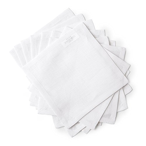 Solino Home Linen Cocktail Napkins - 6 x 6 Inch White, Set of 12 Machine Washable, Bella - Soft and Handcrafted with Mitered Corners