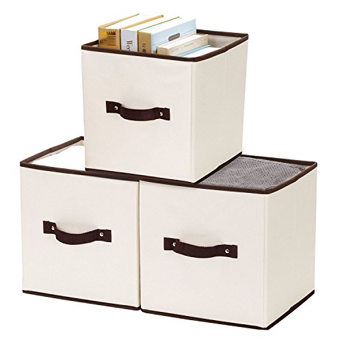 StorageWorks Polyester Canvas Storage Cube Box, Natural, Medium, 3-Pack (3 Canvas Storage Boxes)