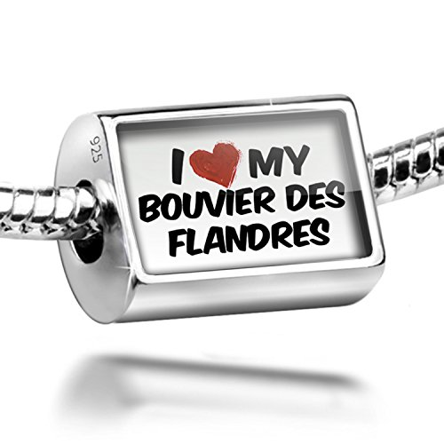Sterling Silver Charm I Love my Bouvier des Flandres Dog from Belgium - Bead Fi ()