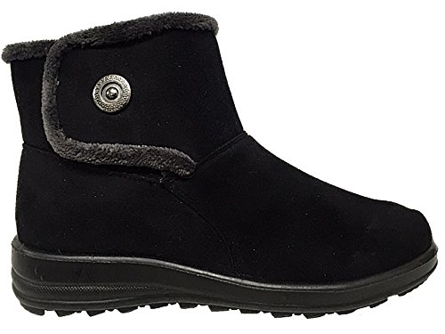 Ladies Cushion Walk Faux Suede Warm Faux Fur Lined Casual Comfort Ankle Boot Shoe Size 3-8 Black-V