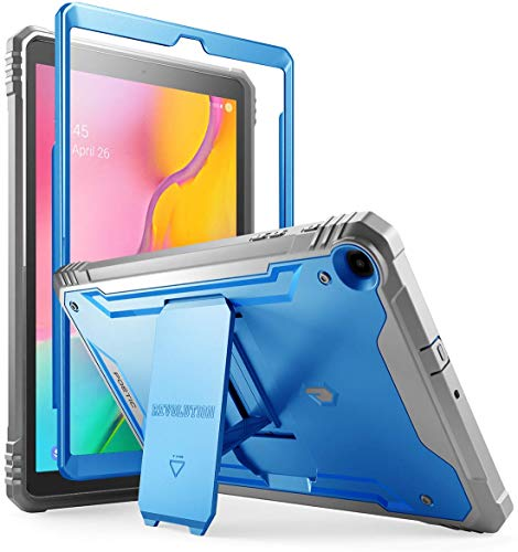 Galaxy Tab A 10.1 2019 Rugged Case with Kickstand, SM-T510/T515, Poetic Full Body Shockproof Cover, Built-in-Screen Protector, Revolution, for Samsung Galaxy Tab A Tablet 10.1 Inch (2019), Blue (Samsung Tablet Military Case)