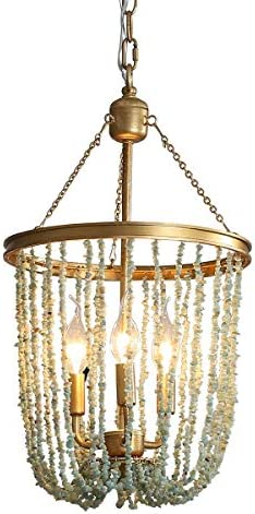 Stone Beaded Chandelier Lighting Fixture 3-Light Home Decor Gold Metal Chandeliers 12″D x 21.9″H Ceiling Mounted Pendant Lamp