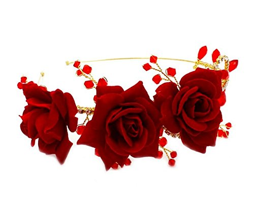 Price comparison product image Wiipu Rose Flower Crystal Leaf Wedding Headband Bridal Tiara Hair Accessories(A1290)