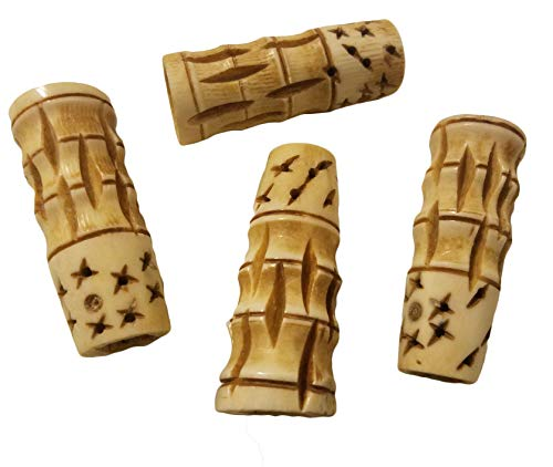 52mm Large Hand-Carved Genuine Bone Beads for Macrame or Jewelry, 4 Count