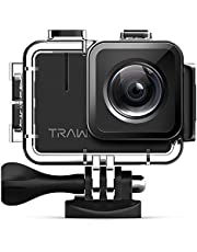APEMAN TRAWO【Upgraded 4K/50fps】 Action Camera 20MP Ultra HD WIFI Sports Cam IPS Screen Underwater 40M with EIS Plus 2 Rechargeable 1350mAh Batteries