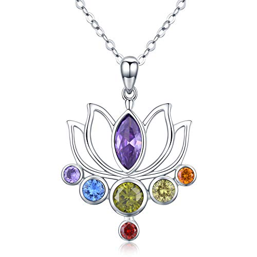 TANGPOET 925 Sterling Silver 7 Chakra Necklace Healing Lotus Pendant Necklace Jewellery Gifts for Women,Yoga Lover ()