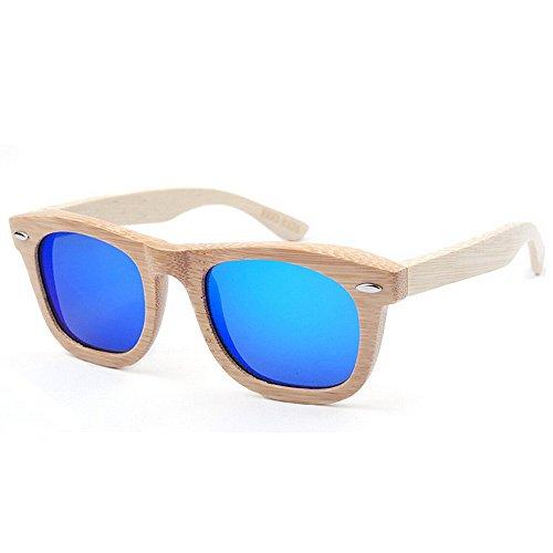 pesca de polarizada vacaciones alta mano conducción de sol hombres de Gafas de de Retro los a protección la hecho de UV lente calidad TAC bambú de al color de Azul aire sol playa personalidad de del gafas TwCq5xxpZ