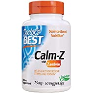Doctor's Best Calm with Zembrin, Calm, Stress & Mood Support, 25mg Veggie Caps, 60Count