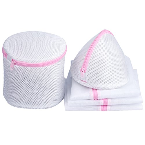 Laundry Wash Mesh Bag Travel Bags with Zipper for Blouse, Baby Clothes, Hosiery, Stocking, Underwear, Bra and Lingerie, 5 sets