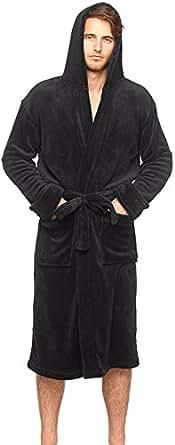 Wanted Men's Bathrobe Hooded Robe Plush Micro Fleece with Front Pockets (Black, Small/Medium)