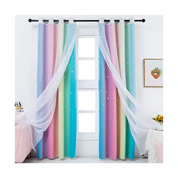 Girls Bedroom Rainbow Curtains with Sheer