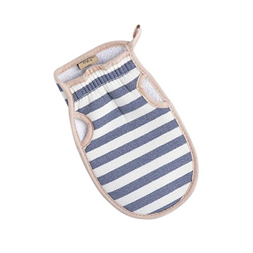 Portable Stripe Bath Body Brush Durable Bath Mitt Hanging Bath Glove [Blue] by Panda Superstore