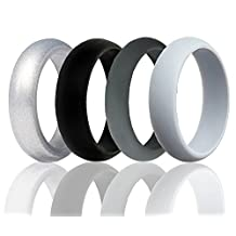 Silicone Wedding Ring For Men or Women By OTOPO, Affordable Silicone Rubber Wedding Bands 4 Pack - Gold, Silver, Black, Dark Gray, Gray, Pink