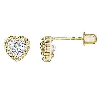 14kt Solid Gold Kids Heart Stud Screwback Earrings by Stephanie Rockway