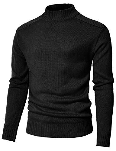 (H2H Mens Casual Mock Neck Long Sleeve Cashmere Turtleneck Sweater Black US M/Asia M (KMOSWL0199))