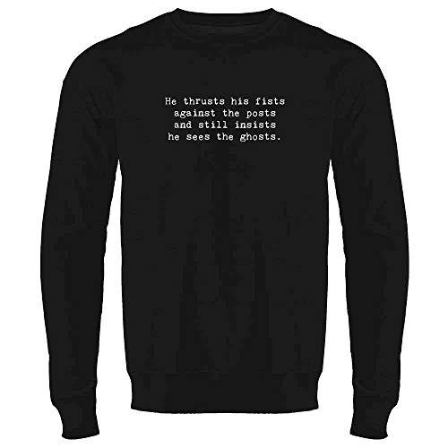He Thrusts His Fists Against The Posts. Black L Mens Fleece Crew Sweatshirt