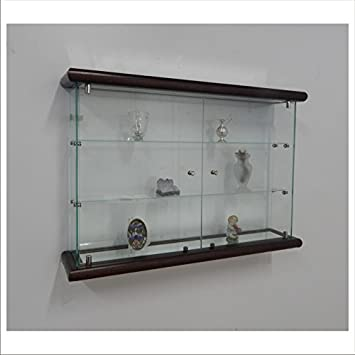Vm Art Design Glass Vitrine Murale Vmbr3ht Tr Dark Wood Amazonfr