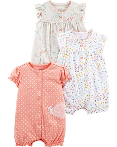 Simple Joys by Carter's Girls' 3-Pack Snap-up Rompers, Dino/Floral/Snail, 6-9 Months (Baby One Piece Bodysuit)