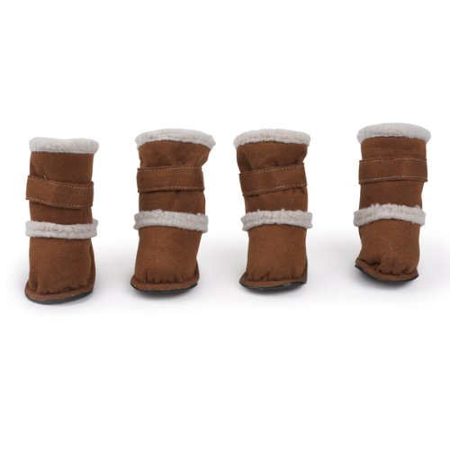 Boots Collection Side East - East Side Collection Polyester Classic Sherpa Dog Boot with Rubber Sole, Small, Chestnut