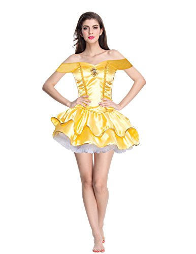 Quesera Women's Princess Belle Dress Off Shoulder Sweetheart Neckline Halloween Costume, Yellow, TagsizeM=USsizeS