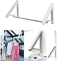 KK5 Clothes Hanger - Folding & Retractable Clothes Racks| Wall Mounted Clothes Drying Rack|Home Storage Organiser Space Savers for Living Room/Bathroom/Bedroom/Office, Easy Installation
