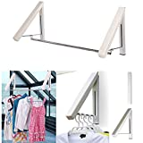 Clothes Hanger - Folding Retractable Clothes Racks| Wall Mounted Clothes Drying Rack| Home Storage Organiser Space Savers for Living Room/Bathroom/Bedroom/Office, Easy Installation - 2 Pack