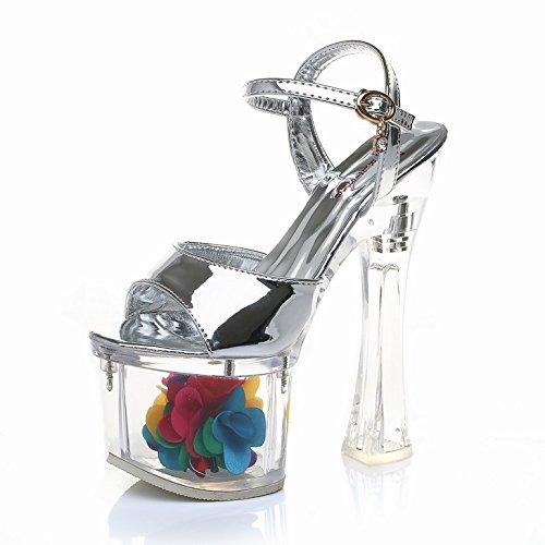 Imperméables Zhudj Modèle A sandals Femme Avec Tous La Crystal Été Of Size Super Silver Plate Transparente forme Chaussures Sandales Hauts Talons Suggest 068w0rqHT