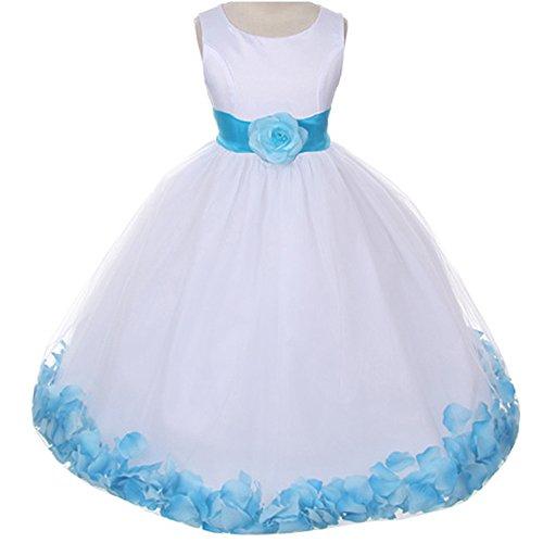 Skirt Bodice Bridal - Baby Girls White Bridal Satin Bodice Double Layer Tulle Skirt Turquoise Organza Sash Flower Petals - Size L