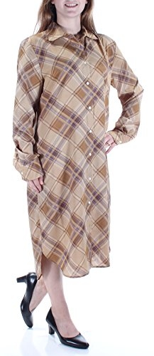 Lauren by Ralph Lauren Women's Bias Plaid Shirt Dress Beige - Bias Dress Plaid