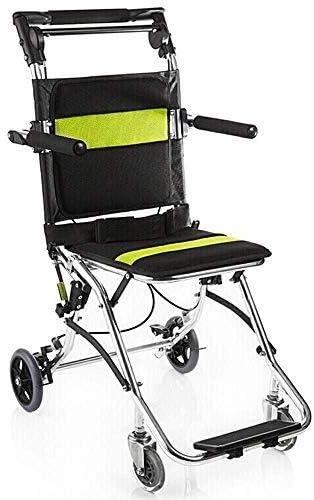 Hyl Sillas de Ruedas Silla de Ruedas Plegable - Suministros médicos - la Silla de Ruedas Plegable de Aluminio Ultraligero con Freno for los discapacitados y los Ancianos - Cinturón de Seguridad