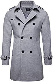 Men's Trenchcoat Wool Blend Winter Long Double Breasted Overcoat Slim Fit Warm with