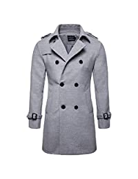 Men's Trenchcoat Wool Blend Winter Long Double Breasted Overcoat Slim Fit Warm with Belt