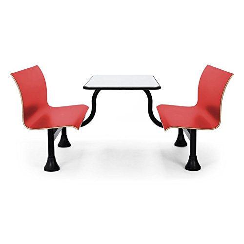 OFM 1006M-RED Retro Bench with Stainless Steel Table Top and Middle - Formica Table
