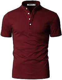 Men's Henley Neck Casual Short Sleeve Polo Button T-Shirt