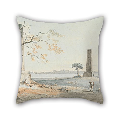 Oil Painting Henry Tresham - Remains Of The Temple Of Olypian Jove With A View Of Ortygia, Syracuse Cushion Covers Best For Study Room Dance Room Divan Bedroom Club Wife 18 X 18 Inches / 45 By 45