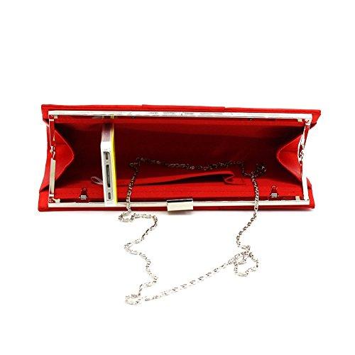 B-JOY - Cartera de mano para mujer blanco beige 25.5cmx4cmx12cm Rojo
