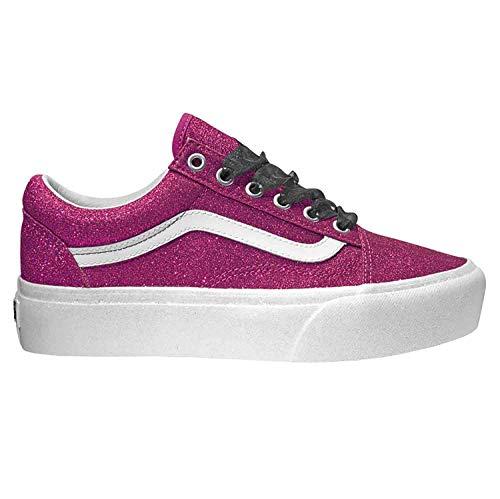 Vans Womens Glitter Old Skool Platform Sneaker (7.5 M US Women / 6 M US Men, (Glitter) Wild Aster/True White)