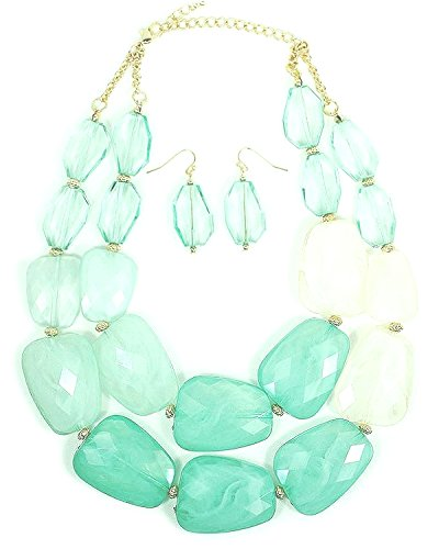 Green Lucite Bead Necklace - NEU Translucent Sea Foam, Mint & White Acrylic Stone-Shaped Bead 2 Strand 16