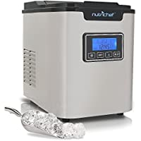 Upgraded NutriChef Portable Digital Ice Maker Machine | Stainless Steel Stain Resistant | Countertop Ice Maker W/Built-In Freezer | Over-Sized Ice Bucket | Ice Machine W/Easy-Touch Buttons - Silver