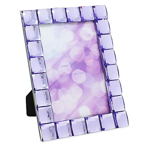 Isaac Jacobs Decorative Sparkling Light Purple Jewel Picture Frame, Photo Display & Home Décor (4x6, Light Purple)