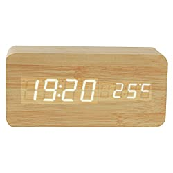 Bamboo Digital Clock, Senoke Sound Activated Led Bamboo Digital Alarm Desk Clock with 3 Time Modes and Temperature