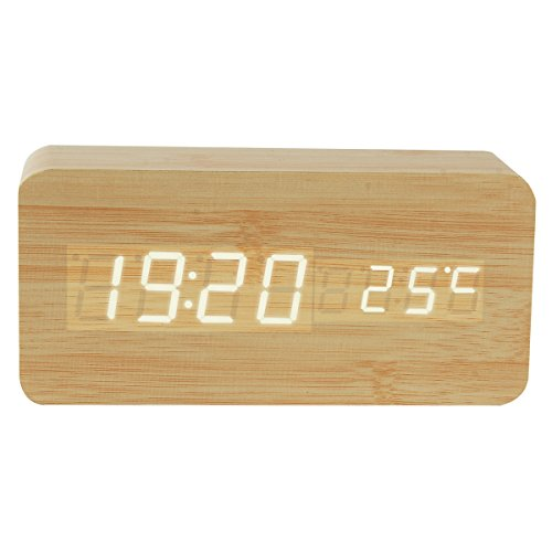 Wooden Digital Alarm Clock, YougIka Sound Activated Led Bamboo Digital Alarm Desk Clock with 3 Time Modes and Temperature (Bamboo, White Light)