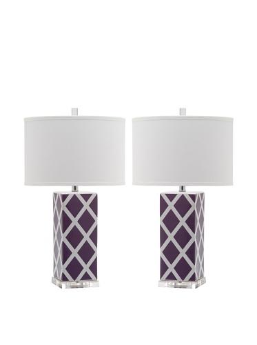 Safavieh Lighting Collection Garden Lattice Table Lamp, Light Purple, Set of 2 by Safavieh